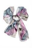 Silk scarf. Lilac silk scarf folded like bowknot. Lilac silk scarf folded like bowknot isolated on white background. Female accessory stock photography