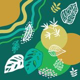 Trendy abstract print with tropical motifs. Silk scarf with palm leaves, circles and lines. Oriental textile collection vector illustration