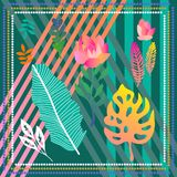 Stripped diagonal print with tropical motifs. stock illustration