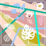 Abstract geometric print with tropical motifs. Silk scarf with palm leavs and lines. Oriental textile collection royalty free illustration