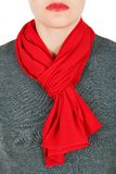 Silk scarf. Red silk scarf around her neck isolated on white background. Royalty Free Stock Photography