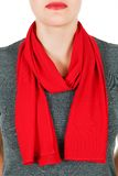 Silk scarf. Red silk scarf around her neck  on white background. Royalty Free Stock Images