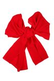 Silk scarf. Red silk scarf folded like bowknot. Red silk scarf folded like bowknot isolated on white background. Female accessory royalty free stock photo