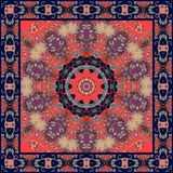 Silk scarf with red star and ornamental border. Ethnic rug. Fashion print for kerchief Stock Photos