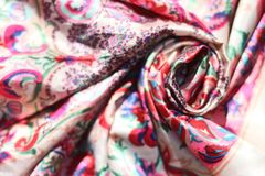 Silk scarf with traditional patterns stock image