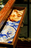 Silk scarfs in drawer Stock Photography