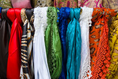 Silk scarves. Background. Royalty Free Stock Photography