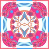 Silk Schal mit abstrakten Blumen vector Muster mit Hand gezeichneten Florenelementen lizenzfreie stockfotos