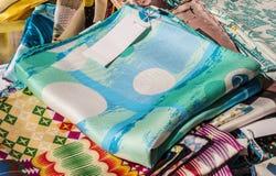 Silk shawls Stock Photos