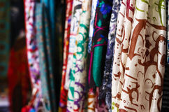 Silk shawls hanging at the street market in Istanbul Royalty Free Stock Photography
