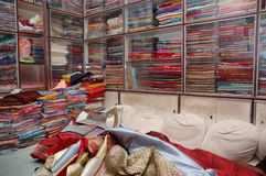 Silk shop in India. Inside Silk shop in India royalty free stock photography