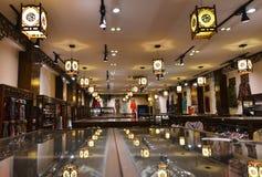 Silk shop with lantern Royalty Free Stock Image