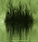 Silk Smoke Ripple Swirl. Design of Silk Smoke, ripple swirl graphic in green Stock Photo
