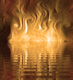 Silk Smoke Ripple Swirl. Design of Silk Smoke, ripple swirl graphic in dramatic gold Stock Image