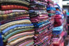 Silk Stack. Traditional hand woven Thai silk Royalty Free Stock Photo