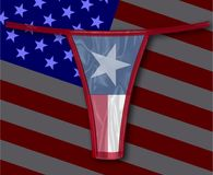 Silk Texas Thong With Flags. A thong with the Texan flag all over a faded stars and stripes background Stock Images