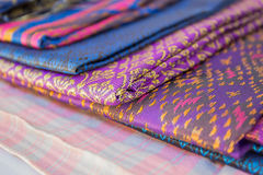 Silk thai. Thailand silk woven by hand, which expresses the identity of the people of Thailand are placed overlapping various rashes Stock Image