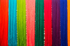 Silk thread background. Colorful of raw multicolored silk thread background Royalty Free Stock Photo