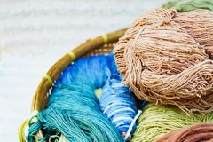 Silk thread raw material for silk weaving by nature colour Royalty Free Stock Photo