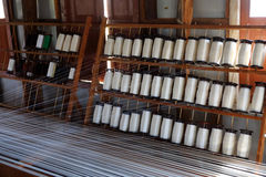 Silk thread on weaving tool Stock Images