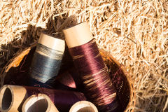 Silk threads in a coils Royalty Free Stock Photo