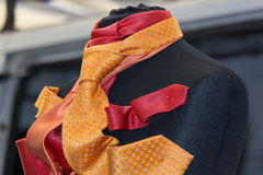 Silk tie on display. Italian made silk tie on display stand Royalty Free Stock Photography