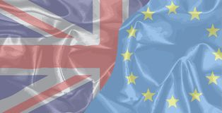 Silk UK And EU Flags Royalty Free Stock Photography