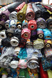 Silk in various colors. For choose. Taken in South the Bund textile fabric Market, Shanghai, China. People come here to pick their favorite cloth to design and Royalty Free Stock Photo