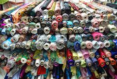 Silk in various colors. For choose. Taken in South the Bund textile fabric Market, Shanghai, China. People come here to pick their favorite cloth to design and Royalty Free Stock Photography