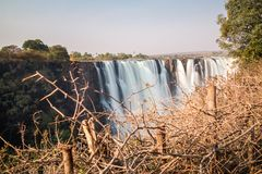 Silk water in Victoria Falls, View from Zimbabwe Stock Image