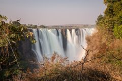 Silk water in Victoria Falls, View from Zimbabwe Stock Photo