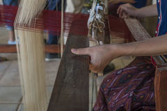 Silk weaving in Thailand. Close up of a pattern of silk weaving in Thailand Royalty Free Stock Photos