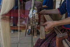 Silk weaving in Thailand. Close up of a pattern of silk weaving in Thailand Royalty Free Stock Photography