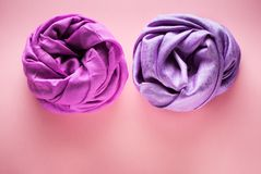 Silk and woolen scarves. Top view royalty free stock photo