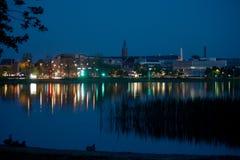 Silkeborg, Dinamarca por noche Fotos de archivo