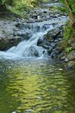 Silken cascade of Little Metis River feeds local swimming hole Royalty Free Stock Photos