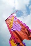 Silkeslena flaggor Fotografering för Bildbyråer