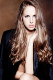 silkeslent blont hår royaltyfria foton