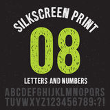Silkscreen print style letters and numbers. Vintage grunge alphabet vector set Stock Image