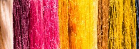 Silkworm raw silk thread Stock Photos