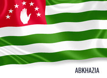 Silky flag of Abkhazia waving on an isolated white background. 3D rendering. Royalty Free Stock Image