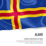 Silky flag of Aland waving on an isolated white background with the white text area for your advert message. 3D rendering Stock Image