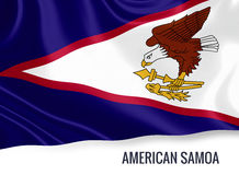 Silky flag of American Samoa waving on an isolated white background. Stock Photo