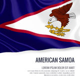 Silky flag of American Samoa waving on an isolated white background with the white text area for your advert message. Royalty Free Stock Image