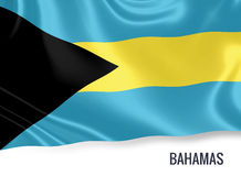 Silky flag of Bahamas waving on an isolated white background. Royalty Free Stock Image