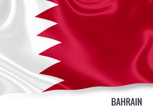 Silky flag of Bahrain waving on an isolated white background. Royalty Free Stock Images
