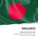 Silky flag of Bangladesh waving on an isolated white background with the white text area for your advert message. Stock Image