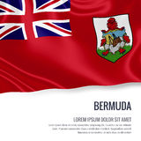 Silky flag of Bermuda waving on an isolated white background with the white text area for your advert message. Stock Photography