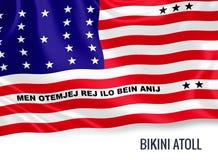 Silky flag of Bikini Atoll waving on an isolated white background. Stock Photo