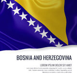 Silky flag of Bosnia and Herzegovina waving on an isolated white background with the white text area for your advert message. Royalty Free Stock Images
